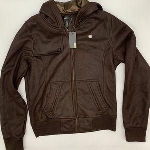 Obey Vegan Leather Rebel Fleece Lined Bomber
